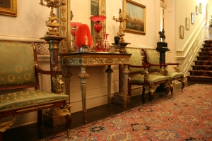 Wooden pier table, most likely Italian, in Villa Finale's Front Hall.