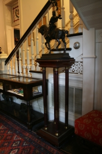 This stand cannot take the weight of this bronze of Joan d'Arc forever.  Steve found that both back legs had been broken and repaired.