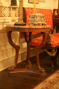 This beautiful table, one of my favorites, has several old repairs and a large crack in one of the feet.  Steve wanted us to take a couple of pieces off this table to reduce the weight.  It is possible to conserve it and have it bear the original weight, however.