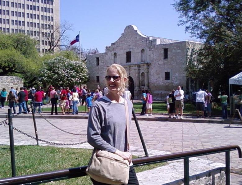Meg outside the famous Texas shrine.
