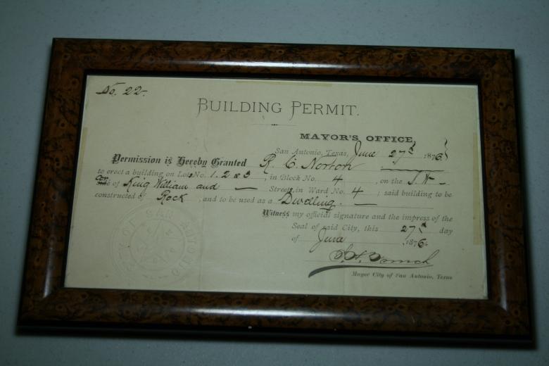 Original building permit for 401 King William.