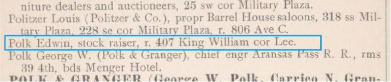 San Antonio directory listing for Edwin Polk, 1885 - 86.  Note Sheridan Street was then called Lee.
