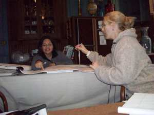With Meg Nowack in Villa Finale's kitchen planning out exhibits for the Visitor Center, late 2008.